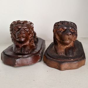 2 Mini Sewer Tile Redware Lions Mack Philadelphia New Cumberland West Va Antique
