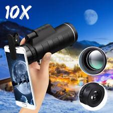 10x40 Zoom Monocular Telescope Lens Camera Hd Scope Hunting Phone Holder Black