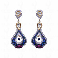 TOURMALINE, BLUE & WHITE SAPPHIRE GEMSTONE EARRINGS IN 925 SOLID SILVER SE011167