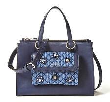 Guess Sienna 2 in 1 Society Satchel Blue, Women's Handbag Strap Bag