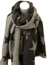 Ladies GREY Reversible Crinkle Pleated Star Print Thick Winter Scarf Pashmina