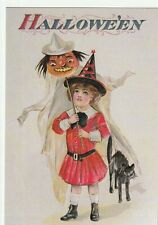 "*Halloween Postcard-""Little Girl Witch Holds Ghost Costume""  *Hallowe'en- (PX5)"
