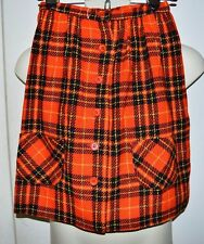 Vintage NWT PANDORA Costume Maker Orange Black Plaid Wool Blend Skirt Size 10