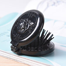 Black Folding Mini With Mirror Travel Accessory Hair Brushes Massage Comb MW