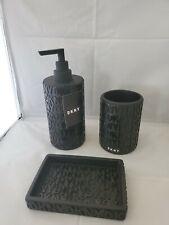 3 DKNY Black Soap Dispenser Tray Toothbrush Holder Bath Accessory Set NWT rare