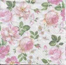 Lot de 4 Serviettes en papier Roses Thé Decoupage Collage Decopatch