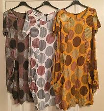 "New LAGENLOOK Stretch Jersey COTTON Circle Stripe Print 2 Pocket Tunic Dress 42"""