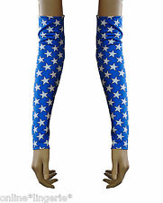 Azul Blanco Estrellas Armwarmer Lycra Guantelete brazo caliente Guante Mujer maravilla fiesta G62