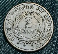 1866 Two Cent Piece 2C High Grade Good Date Civil War Era US Copper Coin CC4725