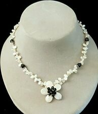 Necklace Keshi Pearls Pearl Flower Black onyx Accents 925 Silver Handcrafted USA