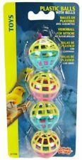 LM Living World Plastic Balls with Bells Bird Toy  4 Pack
