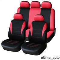 9 Full Red Fabric Car Seat Covers Set VW JETTA GOLF MK3 MK4 MK5 MK6 TOURAN POLO