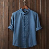 Vintage Mens Plain Hemp Collarless Shirt Full Sleeved Tops Chinese Style Blouse