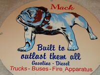 """VINTAGE 1953 MACK TRUCKS W/ BULLDOG 11 3/4"""" PORCELAIN METAL GASOLINE & OIL SIGN!"""