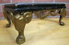 Antique Victorian Cast Iron Rams Head Foot Stool Display Stand Base Wooden Sides