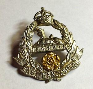 WW2 BI METAL CAP BADGE GREAT BRITAIN EAST LANCASHIRE GENUINE