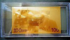 24 KT GOLD 100 EURO European Union Money 2002 in bill holder - great gift - rare