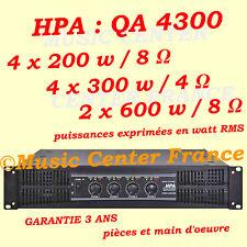 HPA QA4300 QA 4300 - ampli sono 4 x 300 w RMS / 4 ohms - NEUF et Garantie 3 ans
