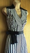 NewWT Karen Millen black & white stripe shirt day evening dress UK 10 £160