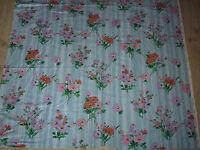 ancien tissu textile coupon ameublement imprimé coton fleur bleu vintage 63x122