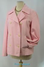 CHAPS short coat light jacket peacoat double breast pink crop cotton Size L VTG