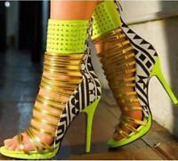 Women Gladiator Peep Toe Stiletto Sandals Strap Slim High Heel Rivet Ankle Boots