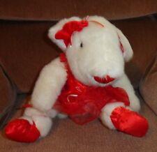 White Mouse Ballerina Red Tutu Plush Stuffed Animal Ballet Shoes Rose Ribbons