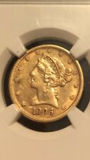 1906 D $5 Gold Liberty AU Details NGC Improperly Cleaned EXTRA EXTRA NICE Coin