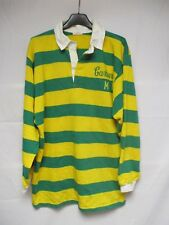 Maillot rugby CARBURIANS M T vintage shirt années 80 made in France jaune vert L