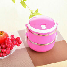 1-4Layer Pink Stainless Steel Portable Lunch Box Bento Food Container Hot