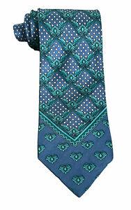 "Gianni Versace Vtg Pre-Death Men's Silk Baroque Polka Dot V-Motif Blue Tie 4"""