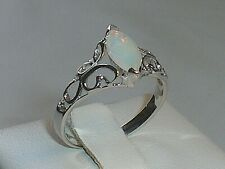 Hand Made Ladies Victorian Design 925 Solid Fine Silver Opal Solitaire Ring