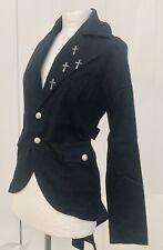 Steampunk Gothic Black Cotton Tail Jacket Metal Crosses Size m Uk 10/12
