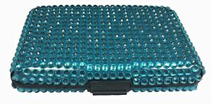Bling Blue Jeweled RFID Secure Credit Card Theft Protection Armored Wallet New
