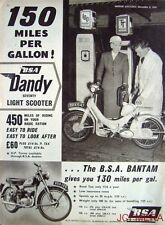 1956 Motor Cycles ADVERT - B.S.A. 'Dandy 70 Light Scooter' & 'Bantam' Print AD