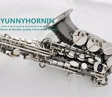 Black Silver Nickel Superior Curved Soprano Saxophone High F# Bb Sax for concert