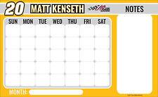 "NASCAR #20 Matt Kenseth 9.5"" x 15.5"" Peel & Stick Dry Erase Calendar w Marker"