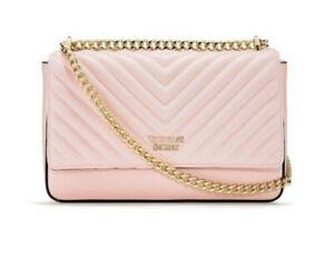 Victoria's Secret Pebbled Pink V-Quilt Street shoulder Bag Chain Strap Purse