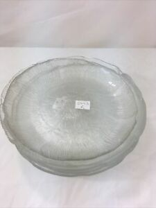 "Arcoroc France Salad/Dessert Plate Set 6 Floral Embossed Clear Glass 8"" & 7.5"""