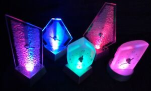 LED Color Change Light Effect Mantel Clock Glass Design Watch Table Illuminated