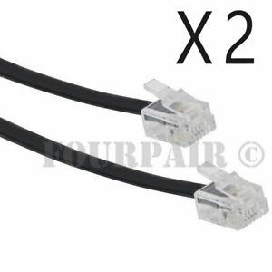 2 Pack Lot - 25ft Telephone Line Cord Cable 6P6C RJ12 RJ11 DSL Fax Phone Black