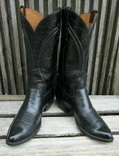 Vintage Lucchese Handmade Classics Goat Skin Black Cowboy Boots SZ 9 D USA!