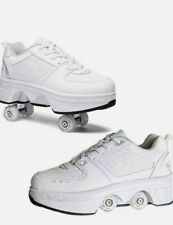 New Retractable (deformation) Roller Skate Shoes White Women's Size 6.5