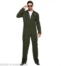 Adult Mens Aviator Army Military Pilot Jumpsuit Fancy Dress Costume Outfit