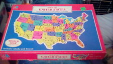 "1988 Milton Bradley Jigsaw Puzzle Map Of The United States 14"" x 20"" (100 pc)"