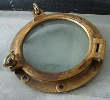 VINTAGE ship's BRASS PORT HOLE / Window / Porthole - 12 Inches GLASS