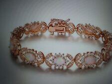 14K ROSE GOLD PL LCS COLORFUL OPAL DIAMOND BRACELET 8 INCH + GIFT!