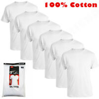6-Pack Crew-Neck For Men's 100% Cotton Tagless T-Shirt Undershirt Tee White