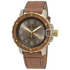 Nautica NMS 01 Bronze Dial Mens Leather Watch NAD15515G
