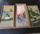 3 lovely picture frame ART DECO Authentic gilded Rim  2 oilprints dutch motif